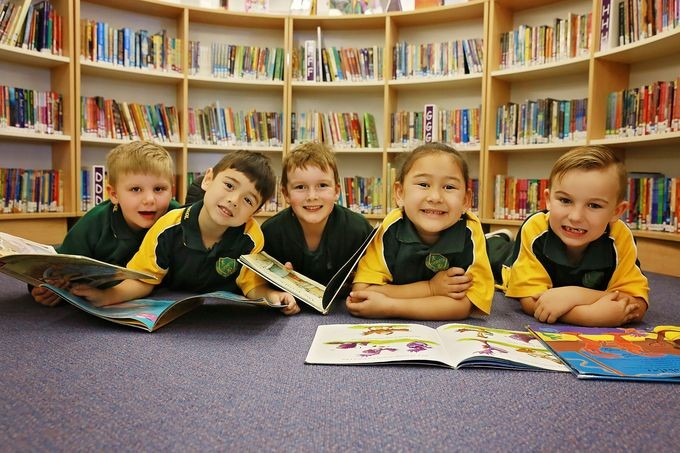 Children in a library